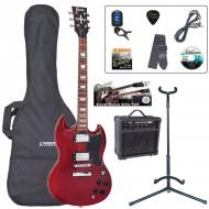 E69 ELEKTRIČNA GITARA (SG) PAKET - GLOSS BLACK / CHERRY RED